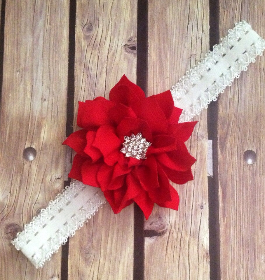 Red Headband Red And White Headband Flower Girl Headband Flower