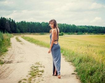 Hey Jude dress # backless dress # open back dress # summer dress # maxi dress # grey dress # braided stripe