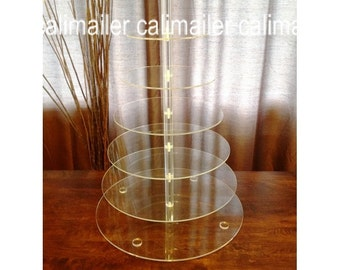 7 tier Clear Round Wedding Acrylic Cupcake Stand Tree Tower Cup Cake Display Dessert Tower