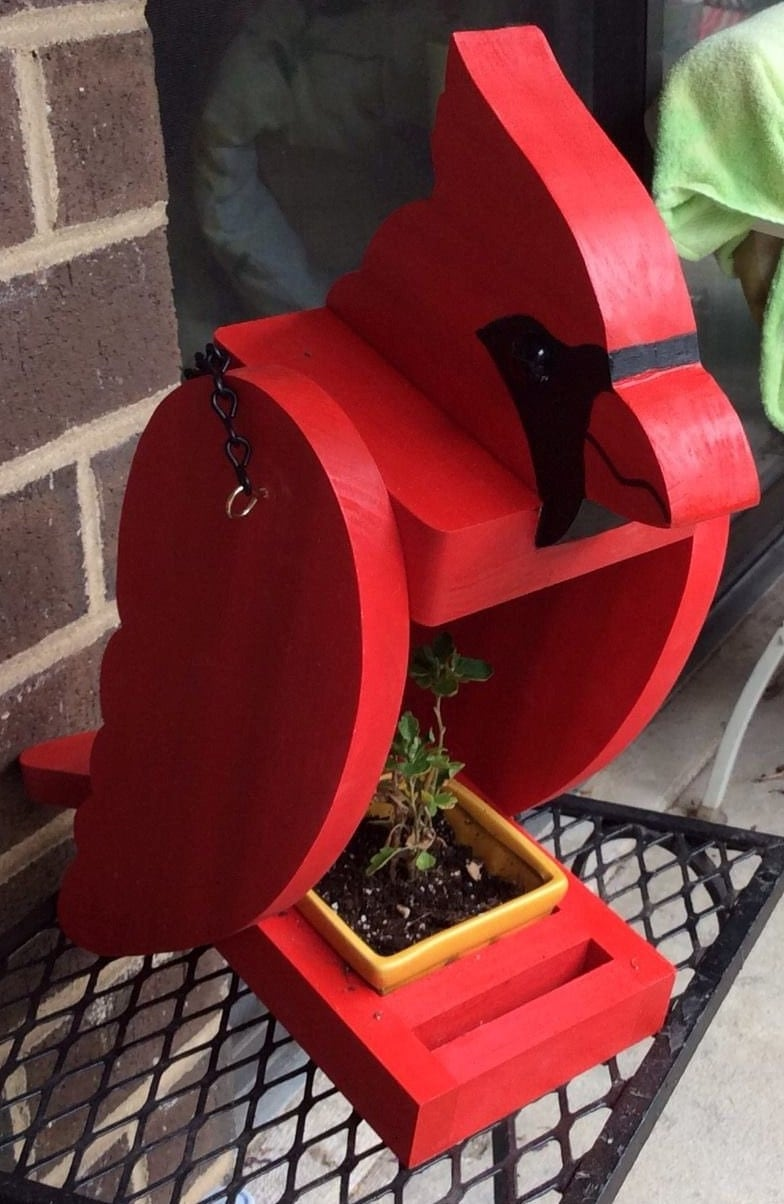 Cardinal Planter Beautiful Red Bird That Can Be Hung Or