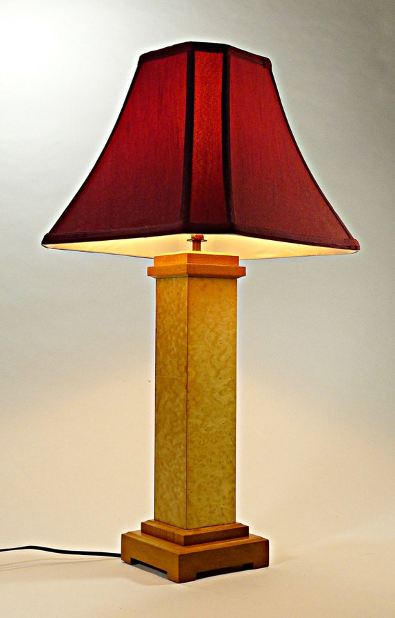 Wood lamp birds eye maple wood handcrafted lamp unique wood - Unique handmade lamps ...