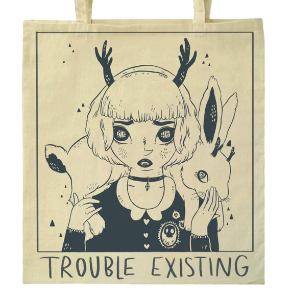 PRE-ORDER ~ One-colour screen printed 'trouble existing' tote bag