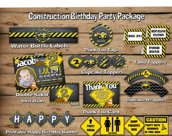 SALE*****Construction birthday party package, Construction party package, Construction party, invitation, Printable party package