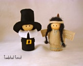 Pilgrim & Native American Peg Dolls ~ Fall Dolls ~ Autumn Dolls ~Thanksgiving Dolls ~Thanksgiving Decor~ Thanksgiving Toy ~Waldorf Inspired