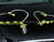 Wedding Car Decor Yellow Tulips with Rattan Hearts Decoration Kit DEK1041 Limo