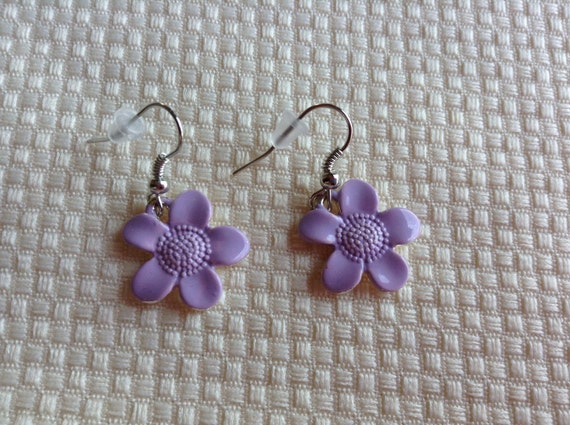 Tiny lilac purple flower earrings for Gemsprouts tiny plant jewelry