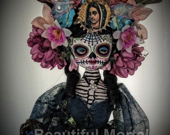 Beautiful Mortal Dia De Los Muertos Sugar Skull Skeleton Doll PRINT 541 by Michael Brown