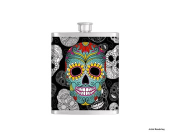 Day of the Dead Flask By Bottoms Up Flasks  - Stainless Steel 8 oz Liquor Hip Flasks - Flask #300