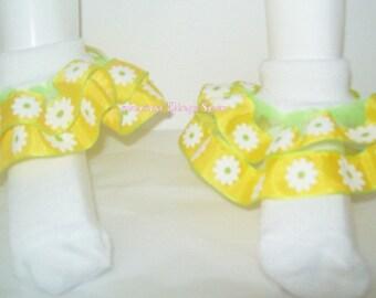 Handmade ruffle socks/ Floral ribbon socks/ Ribbon ruffe socks