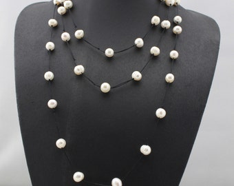 ETS-N001Handmade freshwater pearl necklace, 63 inch long thread necklace,