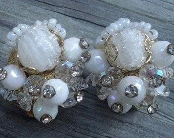 Coro Vendome Earrings Gold Tone Signed White Art Glass Lucite Rhinestones 01208