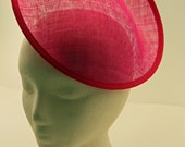 Hot Pink Large Saucer Sinamay Fascinator Hat Base for Millinery & DIY Hats