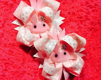 Easter Bunny Hair Bow...Pink Bunny Bow Set...Boutique Style Easter Bow Set