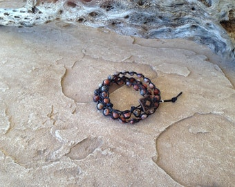 Beaded Brecciated Jasper Leather Bracelet
