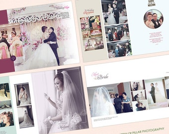 20 Pages Wedding Photo Album Design Template 12x15 modern and minimalist style for InDesign