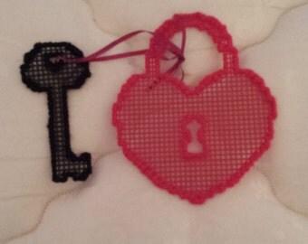 READY TO SHIP Heart and Key Needlepoint