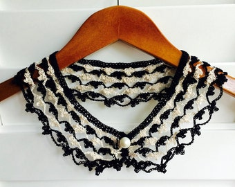 Black and White Crocheted Peter Pan Collar, Handmade, For Her, Gift for Her, Gift Ideas, For Mom, AtelierMariaBonita