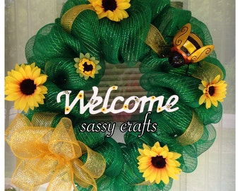 Summer Sunflowers Bumble Bees Green Yellow Deco Mesh Ribbon Welcome Wreath