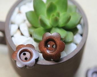 20 Pieces Brown Color Wood Buttons - 25mm - 2 Hole Natural Wooden Button Brown Color Plum Flower Shape