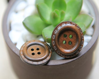 20 Pieces Brown Color Wood Buttons - 25mm - 2 Hole Natural Wooden Button Brown Color