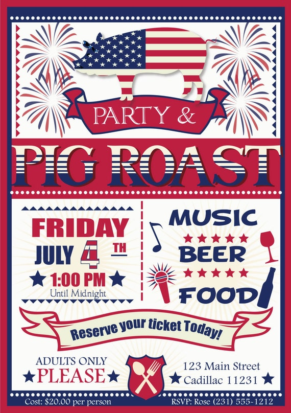 july 4th pig roast party invitation invitations adult holiday printable birthday diy fourth christmas cards visit stationery il