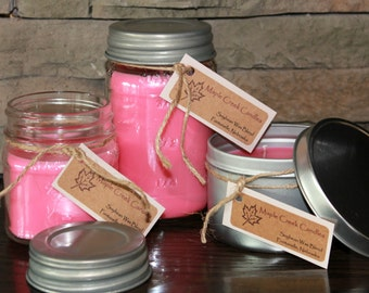 STRAWBERRY MARGARITA Maple Creek Candles ~ Girls Night Out ~ Soy Blend Candles, 3 sizes, Jars w/ Fun Rustic Lid