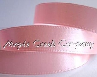 "5 yards of Light Pink Satin Single Face Ribbon, 2 Widths Available: 5/8"" or 3/8"""
