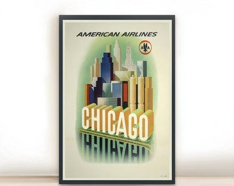 """Chicago American Airlines Vintage Travel Poster, Art Posters Minimalist Art Advertising Vintage Poster 13"""" x 19"""""""