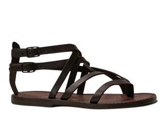 Women Thong sandals in Dark Brown Leather handmade Sizes EU35-41