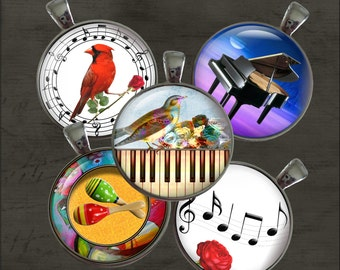 Musical - One Inch Round Digital Collage Sheet for Pendants, Magnets, Bottle Caps, Paper Crafts