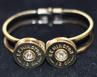 Remington 12 Gauge Shotgun Shell Bullet Bracelet Spring Loaded Swarovski Crystals