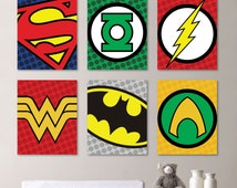 Superhero Wall Art - Superhero Logo - Superhero - Boy Nursery Art - Superhero Decor - Superhero Nursery - Superhero Bedroom  (NS-446)