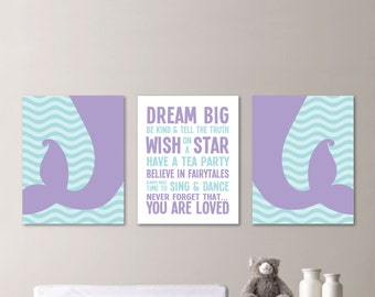 Mermaid Art. Mermaid Prints. Baby Girl Nursery Art Prints. Mermaid Nursery Art. Girl Bedroom Art. Mermaid Bedroom Decor.Mermaid Decor. (611)