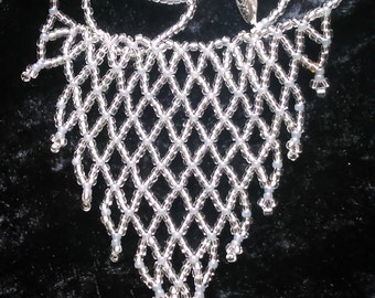 Silver Net Seed Bead Necklace