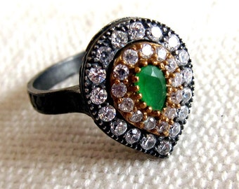 Exotic emerald with clear zircons sterling silver Turkish ring.