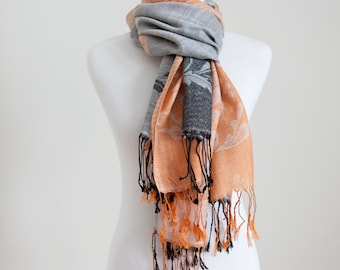 Cotton Scarf in Silver Orange