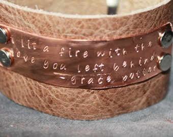 "Women's Copper Upcycled Leather Bracelet Grace Potter Lyrics ""I lit a fire with the love you left behind."""