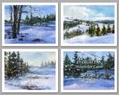 Evergreens - Set of 6 NOTE CARDS - Watercolor Paintings by Linda Henry (NCWC073)