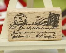 Vintage Letter Rubber Stamp//Post Stamp Wood stamp/Scrapbooking greeting cards DIY stamps//Wedding DIY Rubber stamp