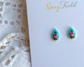 Victorian Rose - Vintage enameled guilloche tear drop post earrings with hand painted roses & sterling silver posts, blue turquoise, pink