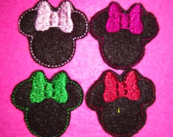 Set of 4 Girl Minnie Mouse Feltie Felt Embellishment Bow! Birthday Party Oversized Oversize Extra Large