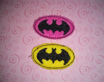 Set of 4 Batman Symbol Logo Feltie Felt Embellishment Girl Bow! Birthday Party Oversized Oversize Extra Large Decoration Planner Clip