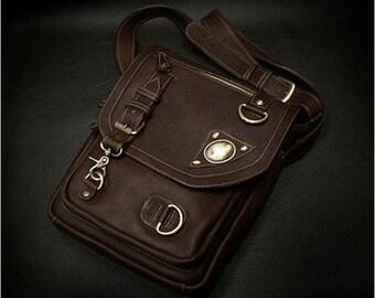 Brown Leather Shoulder Bag K05C02