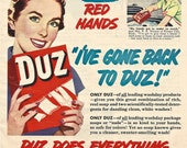 1950s Vintage DUZ LAUNDRY DETERGENT Ad Print Advertisement + Free Bonus Ad Retro Homemaker Laundry Soap Household Wash Wall Decor