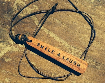 Timber pendant necklace (dream, smile & laugh)