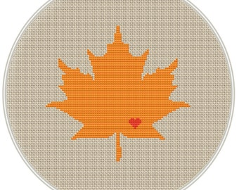 Maple leaf with heart Сross stitch pattern, cross stitch pattern in PDF format, Instant Download, needlepoin, MCS066