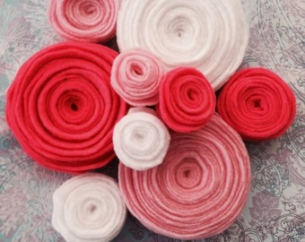 25 ready to use handmade rosettes for your crafting needs! Custom colors.