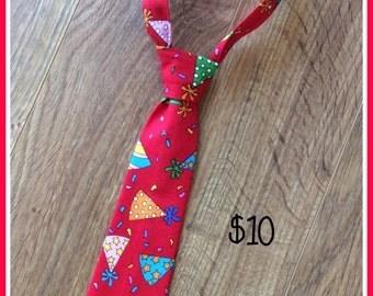 SALE ~ 1/2 PRICE SALE!!!     Happy Birthday Party Hat Handmade Little Boy Neck Tie / Necktie