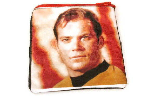 Canvas Pouch Star Trek William Shatner Captain Kirk Original Series, Lined Zipper Pouch/ Wallet ... Ready to Ship