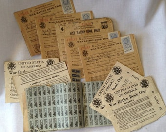 Antique, World War II Rationing Stamps and Related Items